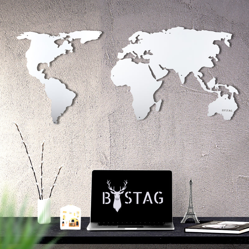Bystag Metal Decorative Wall art world map- metal world map-metal decor-wall art-metal wall art-metal decor-housewarming gift- christmas gift-wall decor-wall hangings- white world map- white metal world map