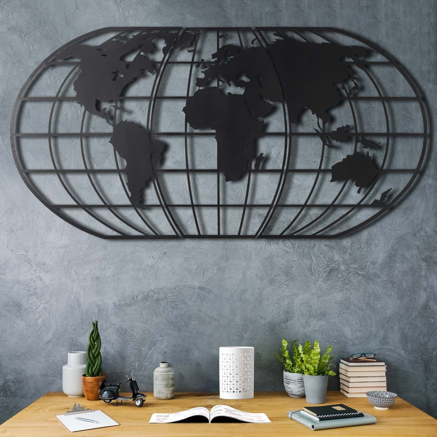 WORLD MAP GLOBE BLACK