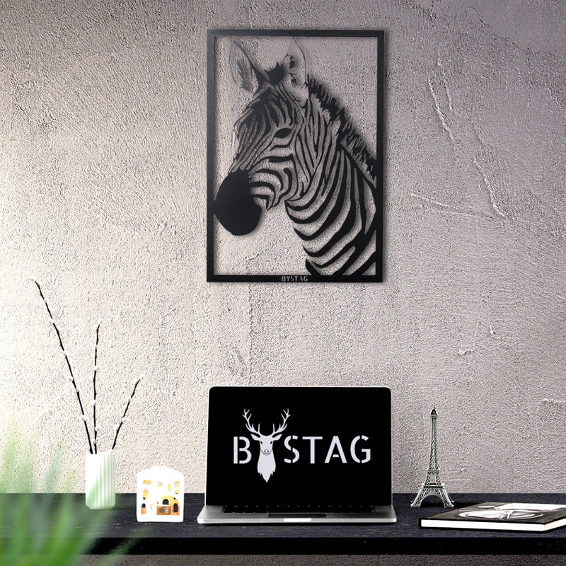 Bystag Metal Decorative Wall art zebra-wall art-metal wall art-metal decor-housewarming gift- christmas gift-wall decor-wall hangings