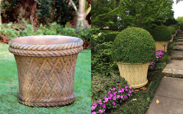 Harlequin Garden Urn with inspiration from the Dallas arboretum