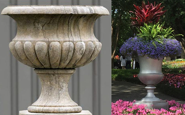Classical Round Fluted Urn with inspiration from the Dallas Arboretum