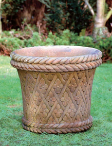 Round Flower Harlequin Crosshatch Urn, Concrete Urn, Cast Stone