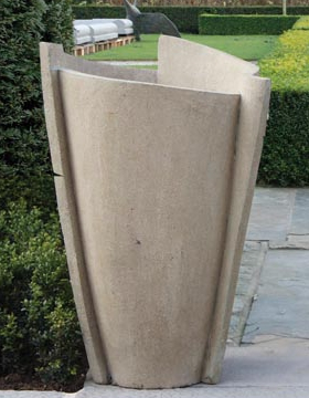 3 sided modern urn, tall urn, contemporary urn, cast stone, concrete urn
