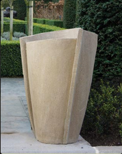 other side of 3 sided tall urn, modern urn, contemporary, cast stone, concrete urn
