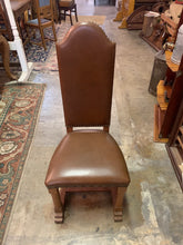 Front of Upholstered Oak Chair with Nail Heads, Brown, Leather, Vinyl