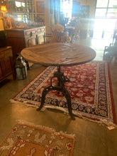 Adjustable Round Wood Table with Cast Iron Base