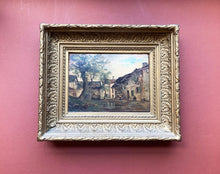 French Original Painting on Wood, Village Landscape, Framed