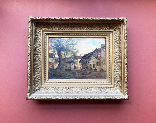 Framed French Painting on Wood, Village Landscape