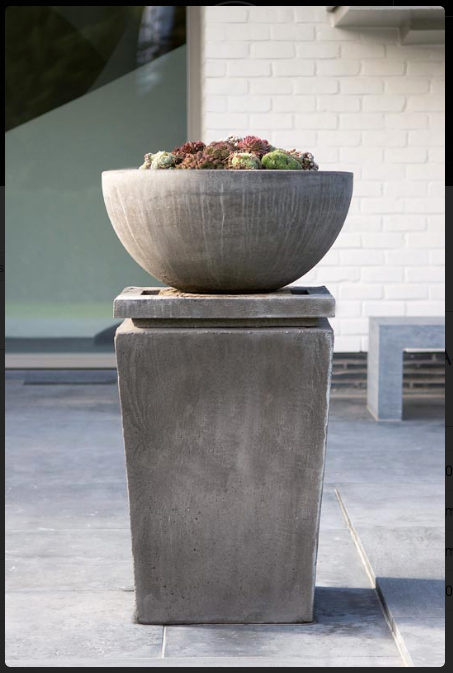 Outdoor Decor, Contemporary Bowl with Plinth