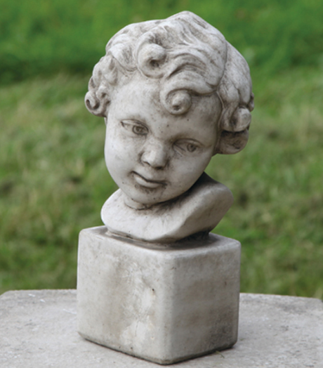 Cast Concrete Girl's Head, Bust of Girl, Decorative Statue for Indoor or Outdoor Use