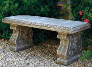 Straight Bench with Classic Feet, Cast Stone Bench, Concrete
