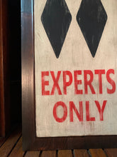 """Warning Experts Only"" Hand-painted Sign, Ski Sign, Lodge Decor"