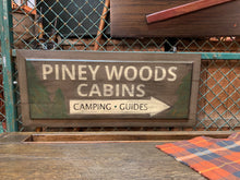"""Piney Woods Cabins"" Hand-painted Sign, Camping, Guides"