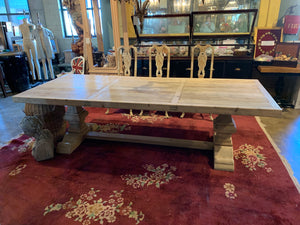 Front of Reclaimed Light Wood Dining Table