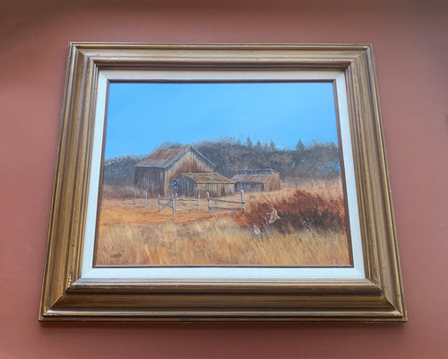 Framed Landscape with Barns, Texas Artist