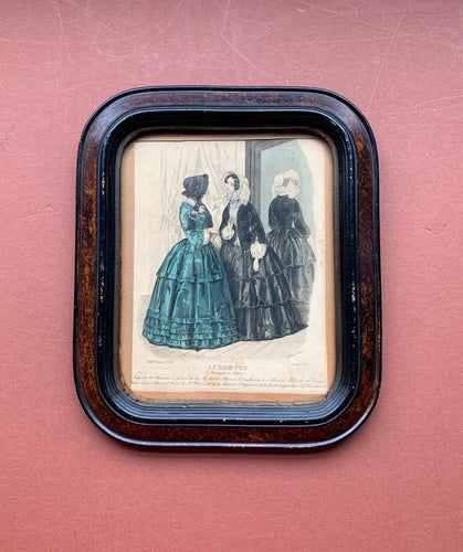 Framed Victorian Dress Print, Black and Green Dress