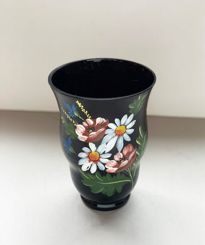 Handpainted Floral Dark Purple Vase