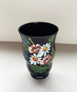 Front of Hand-painted Floral Dark Purple Vase