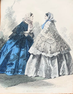 Close up of Victorian Dress Print, Blue and White