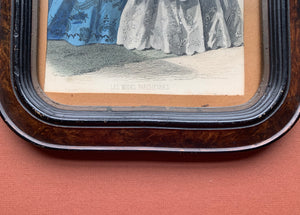 Framed Victorian Dress Print - Blue and White