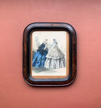 Framed Victorian Dress Print, Blue and White