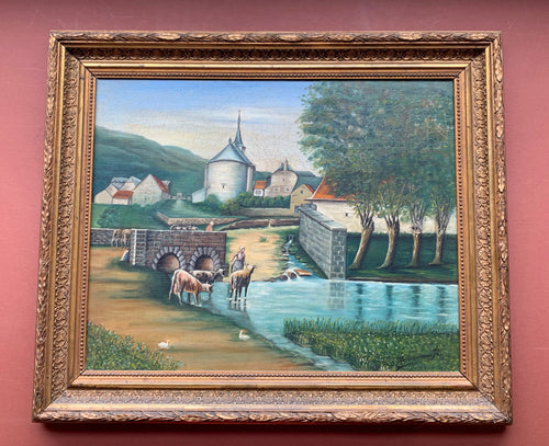 Framed Painting of Village Scene, Borremans