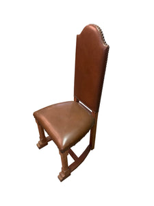 Upholstered Oak Chair with Nail Heads