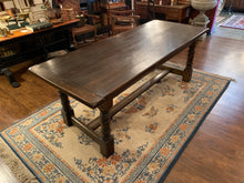 Top of Dark Brown Wood Table with Turned Legs