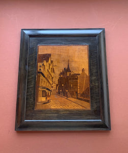 Framed Scottish Wood Inlay of Canongate Tolbooth, Edinburg, Scotland