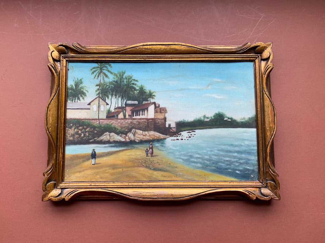 Cayenne Beach Oil Painting with Frame