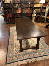 Side of Dark Brown Wood Table with Turned Legs