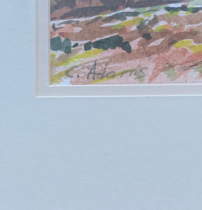 Close up of C. Adams signature on watercolor painting