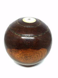 English Wood Lawn Bowling Ball with a Ivory Insert and W, B.I.B.C. 72