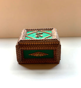 Side of Tramp Art Box with Green Felt and Initials A G