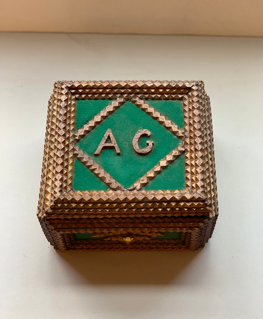 Tramp Art Box with Green Felt with Initials A G