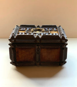 Large Tramp Art Box with Mirror