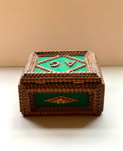 Back of Tramp Art Box with Green Felt and Initials A G