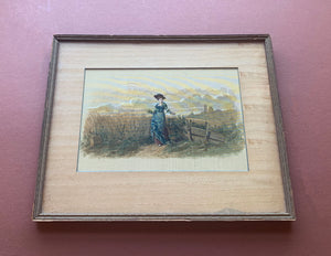 Framed Painting of a Girl in a Field, Painted on Silk