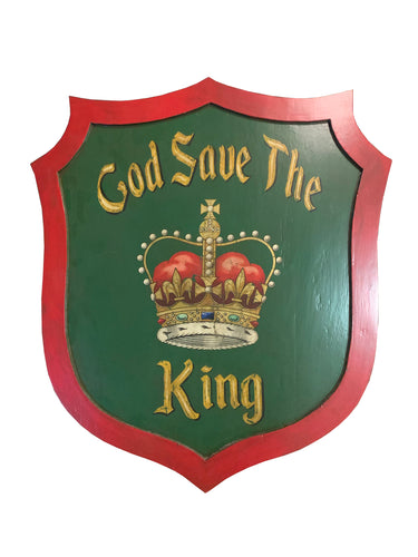 Hand-painted God Save the King Wood Shield