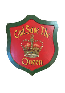 Hand-painted God Save the Queen Wood Shield