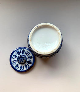 Blue and White Biscuit Barrel with Lid