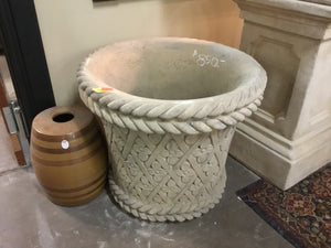 Color of Cast Stone Round Flower Harlequin Crosshatch Urn, Concrete Urn,
