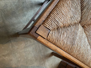 English Oak Straight Back Side Chair close up of seat