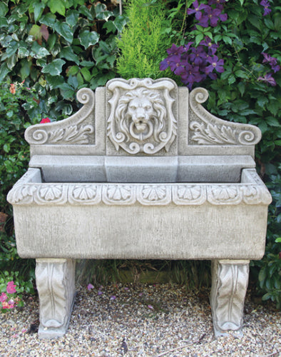 Cast Concrete Lion Wall Fountain, Rectangular, English