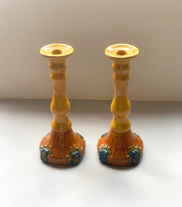 Majolica Candlestick - Set of 2
