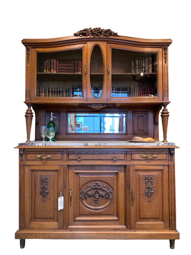 Buffet, Oak, Glass Doors with Marble Top