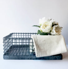 Small Industrial Metal Crate with White Flowers and Tablecloth