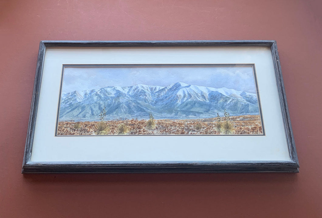Framed Watercolor, horizontal, White Mountains, Stouffer