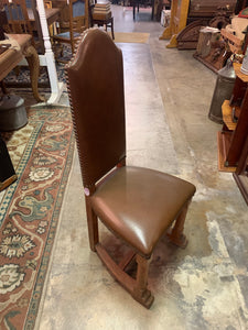 Side of Upholstered Oak Chair with Nail Heads, Brown, Leather, Vinyl