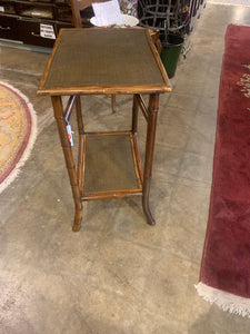 Side of Rectangular Bamboo Table with One Shelf